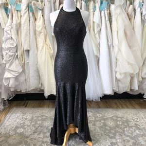 High Neck, Fully Sequined Gown Hi-Low Hem